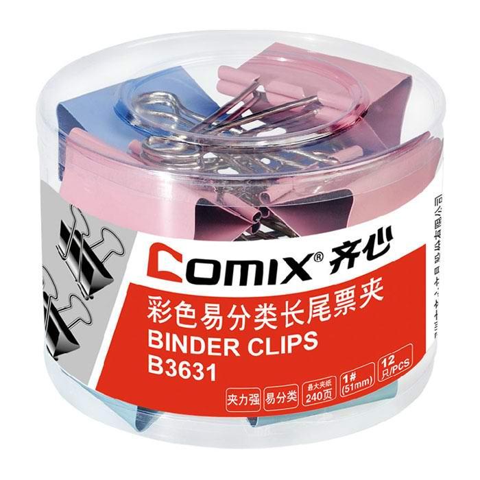 齐心(Comix) B3631 1#彩色长尾票夹 50mm 12只/筒