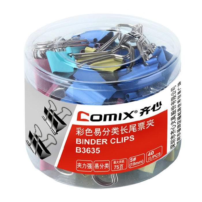齐心(Comix) B3635 5#彩色长尾票夹 19mm 40只/筒