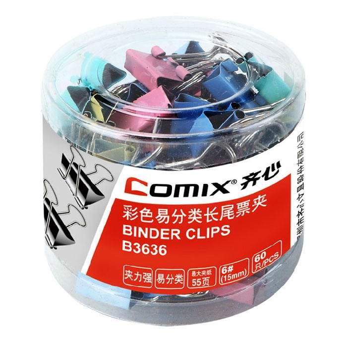 齐心(Comix) B3636 6#彩色长尾票夹 15mm 60只/筒
