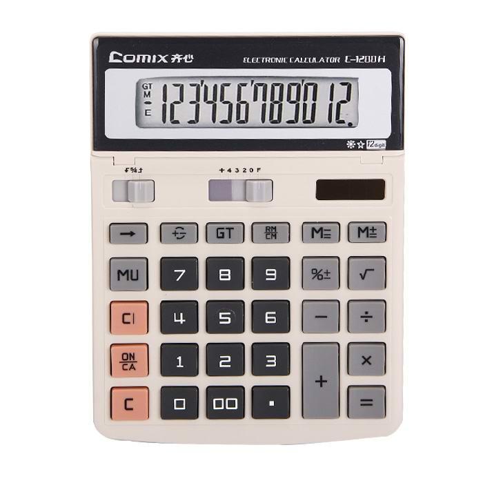 齐心(Comix) C-1200H 大台舒视办公计算器 12位