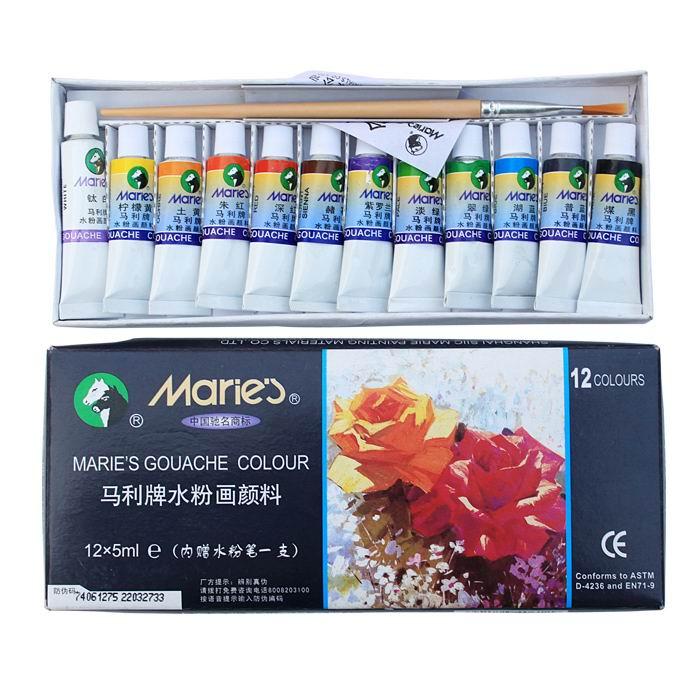 马利(Maries) 7612 12色水粉画颜料