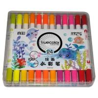 真彩·乐美(TrueColor) WM2128-24学生绘画双头可洗水彩笔 24...
