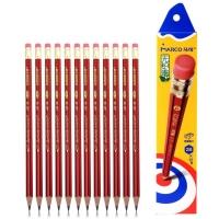 马可(MARCO) 4218E 2B 六角红黑抽条皮头铅笔
