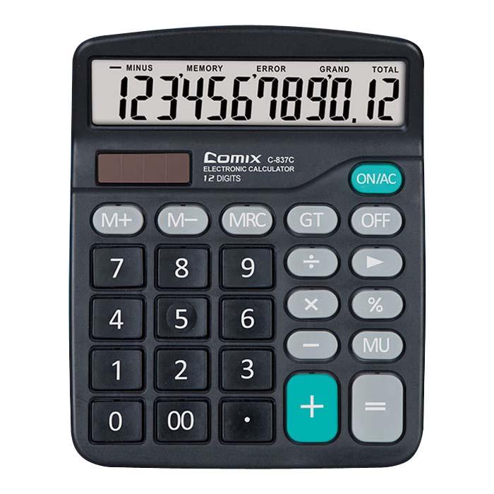 齐心(Comix) C-837C 太阳能计算器 双电源桌面办公商务计算器 12位